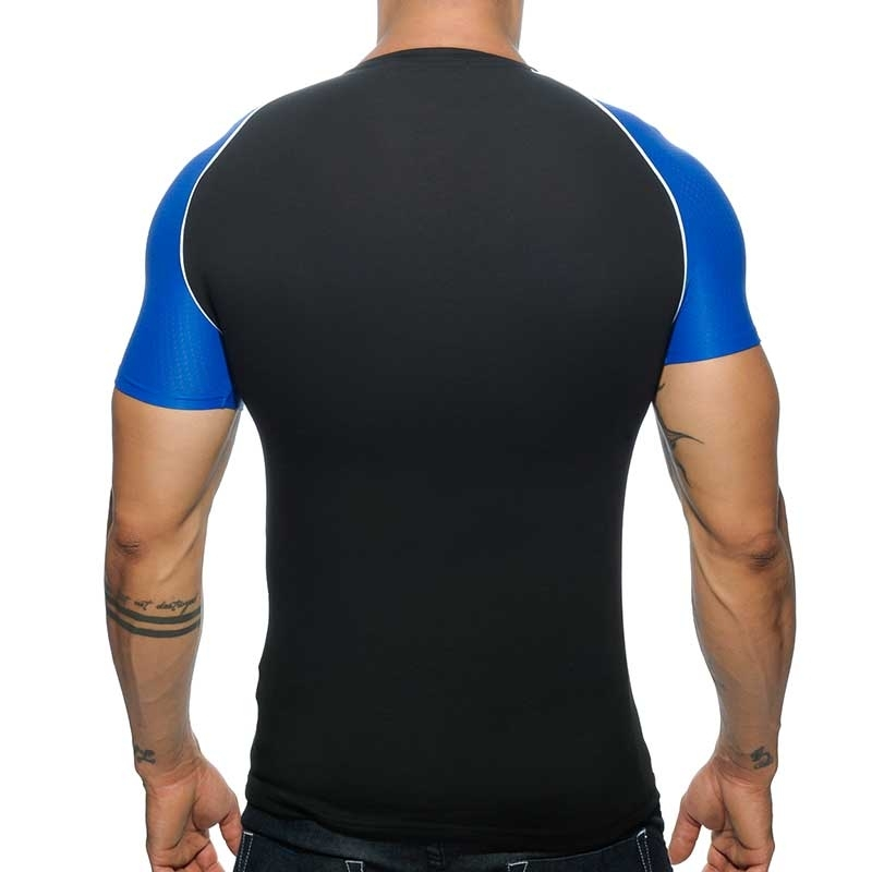 ADDICTED T-SHIRT athletic Power V-NECK RANGLAN Sport Mesh AD-460 Sportswear black-blue