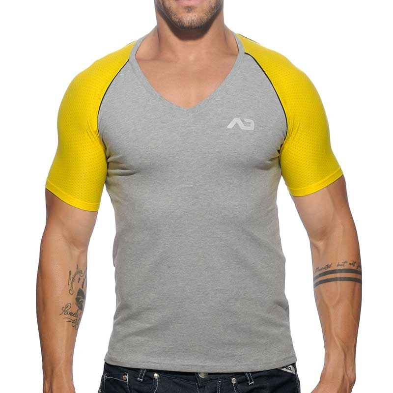 ADDICTED T-SHIRT athletik Rennen V-NECK RANGLAN Sport Netz AD-460 Sportbekleidung grey-yellow
