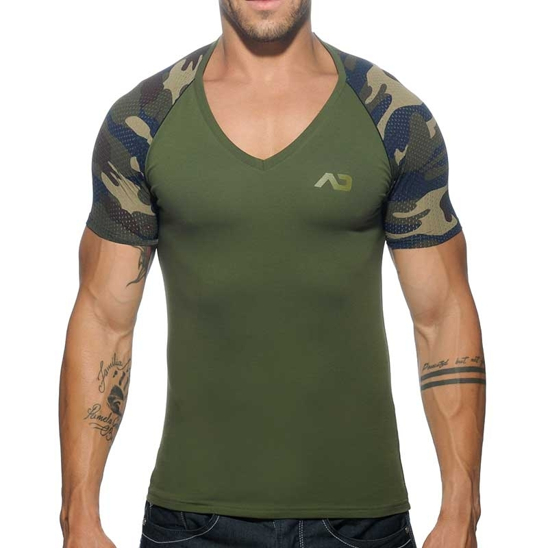 ADDICTED T-SHIRT AD460 oliv green mit camouflage Netz Arm