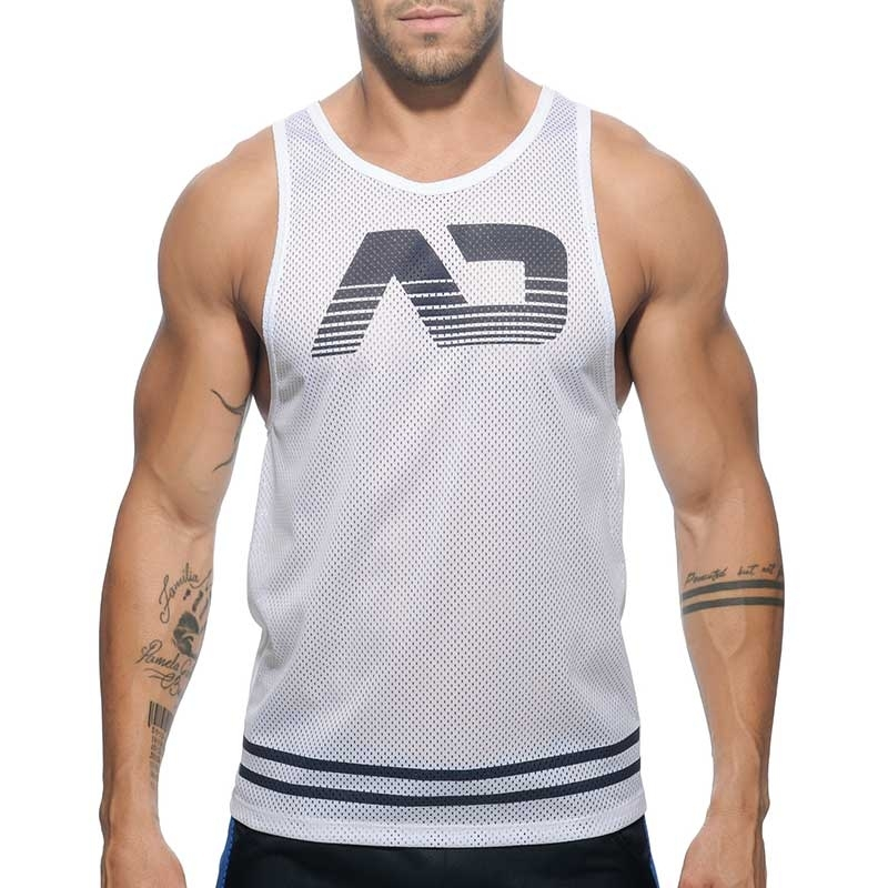 ADDICTED TANK TOP athletic SPORT MESH TRIATHLON Active AD-482 Training Wear white