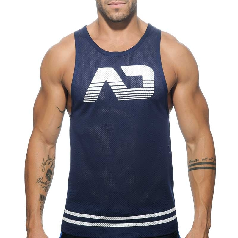 ADDICTED TANK TOP athletik SPORT NETZ TRIATHLON Aktiv AD-482 Training Wear navy