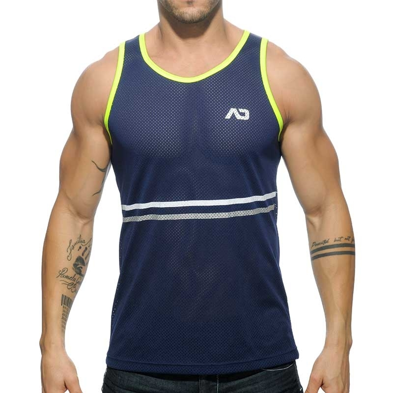 ADDICTED TANK TOP AD483 dark blue sports cut with neon