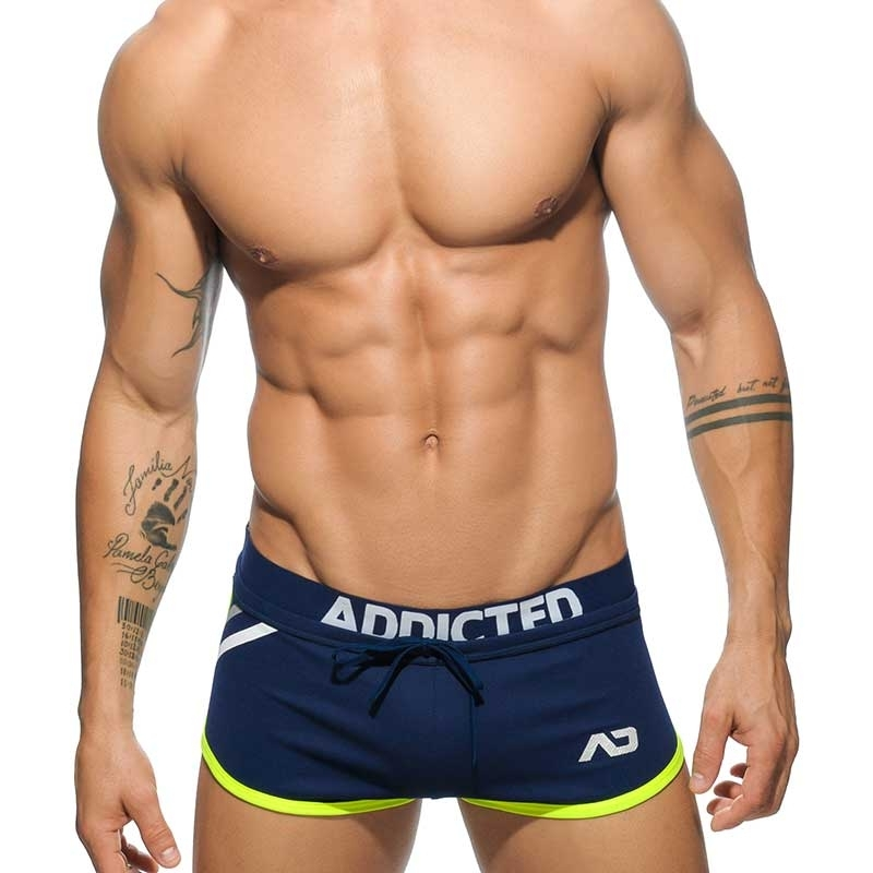 ADDICTED SHORTS hot PLATINUM DETAIL FITNESS Gym Netz AD-485 Sportswear navy