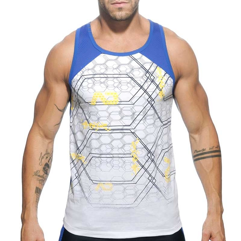 ADDICTED TANK TOP Netz GEOMATRIX STADT Trainer AD-487 Fitness Wear blue