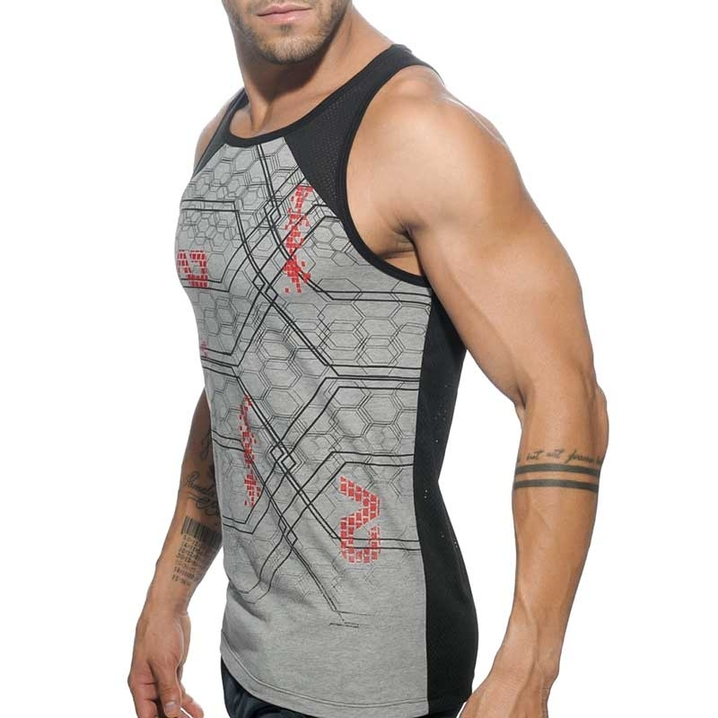 ADDICTED TANK TOP Netz GEOMATRIX STADT Trainer AD-487 Fitness Wear black