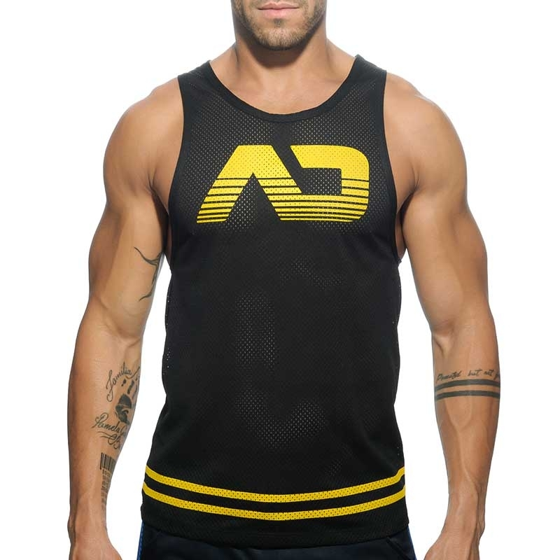 ADDICTED TANK TOP hot BASIC FETISH Piss Mesh AD-492 Club Wear black-yellow