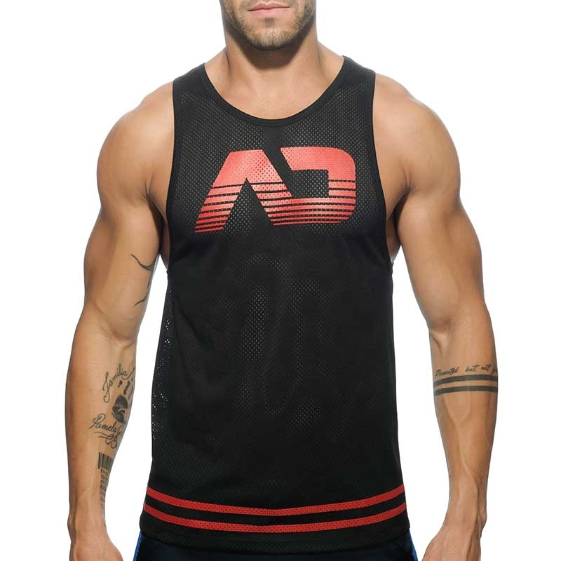 ADDICTED TANK TOP hot BASIC FETISH Fist Mesh AD-492 Club Wear black-red