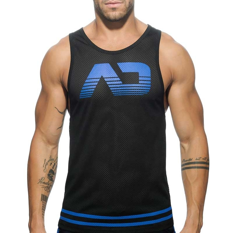 ADDICTED TANK TOP hot BASIC FETISH Fuck Mesh AD-492 Club Wear black-blue