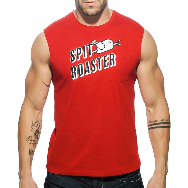 ADDICTED TANK TOP regular SPIT ROASTER Cut Off AD-504 Streetwear red