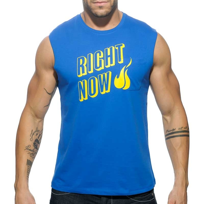 ADDICTED TANK TOP regular RIGHT NOW Cut Off AD-505 Streetwear blue