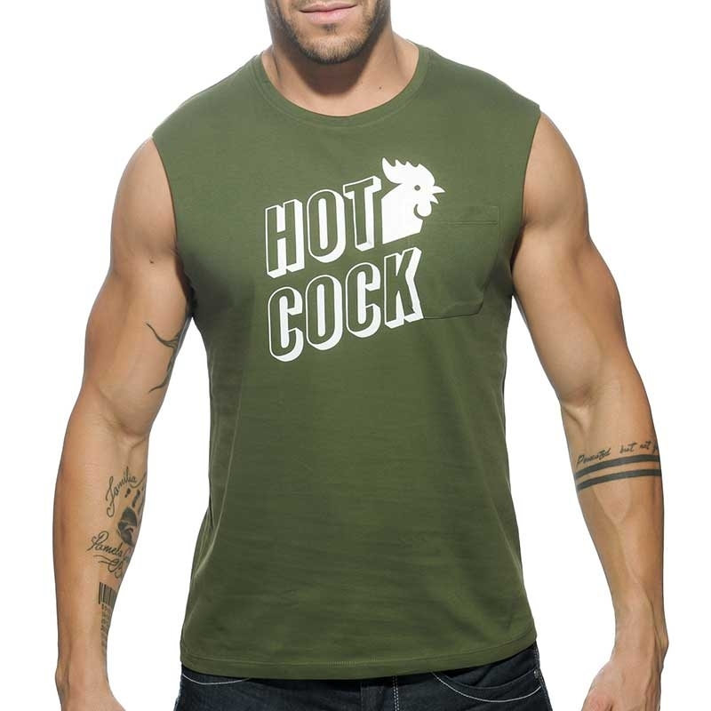 ADDICTED TANK TOP regular HOT COCK Cut Off AD-506 Streetwear olive