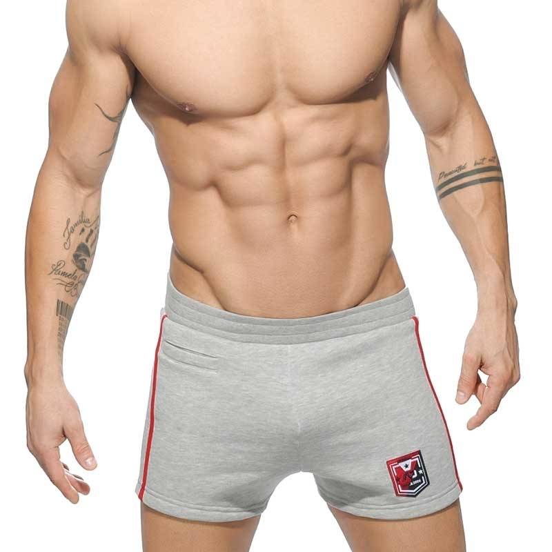 ADDICTED SHORTS comfort SPORT BADGE Ausdauer Gym Wear AD-508 Mainstream light grey