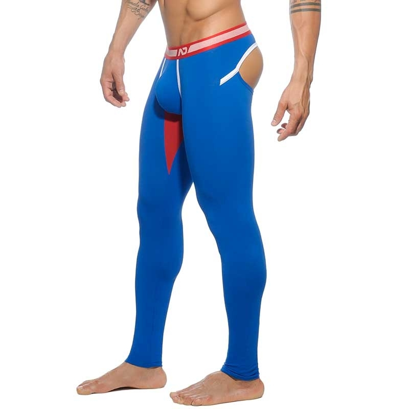 ADDICTED LEGGINGS athletik BACKLESS LONG JOHN Spiel Club AD-462 Fetisch Wear blue-red