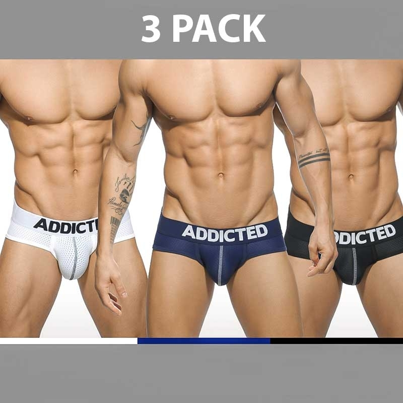 ADDICTED BRIEF regular BASIC MESH 3-PACK Push-Up AD-475 Streetwear black-white-blue