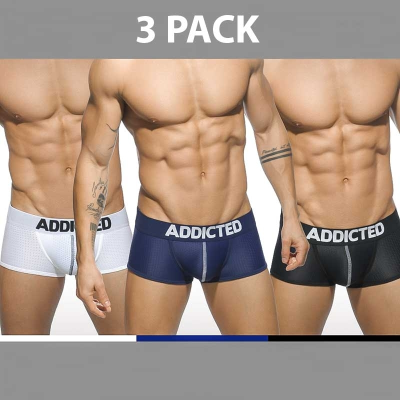 ADDICTED PANT regular BASIC MESH 3-PACK Push-Up AD-477 Streetwear white-blue-black