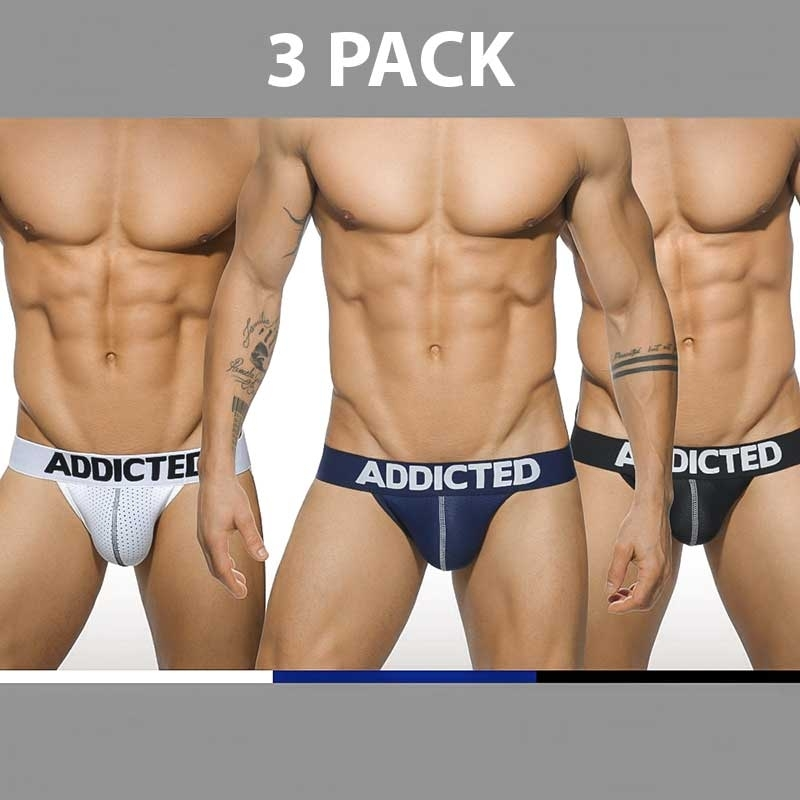 ADDICTED JOCK regular BASIC MESH 3-PACK Backless Push-Up AD-479 Streetwear white-navy-black