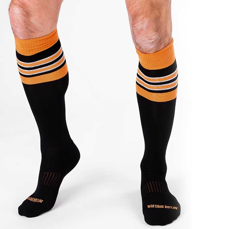 BARCODE Berlin KNIE STRUMPF football socken STURM 90143 rugby game black orange