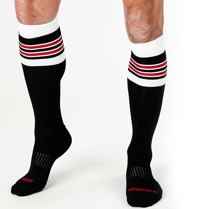 BARCODE Berlin KNIE STRUMPF football socken STURM 91143 rugby game black white