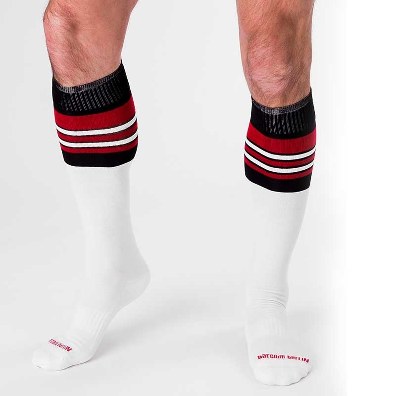 BARCODE Berlin KNEE SOCKS football socks ATTACK 90143 rugby game white black