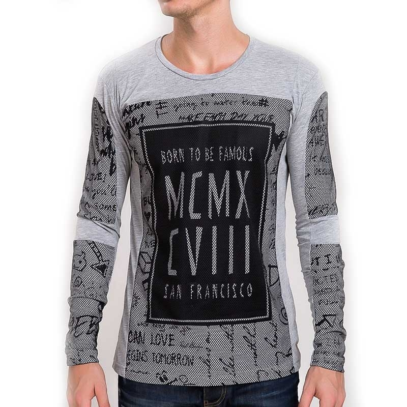 RED BRIDGE SWEATSHIRT modern TOMORROW PRINT SF Liebe M2037 Street Wear grey