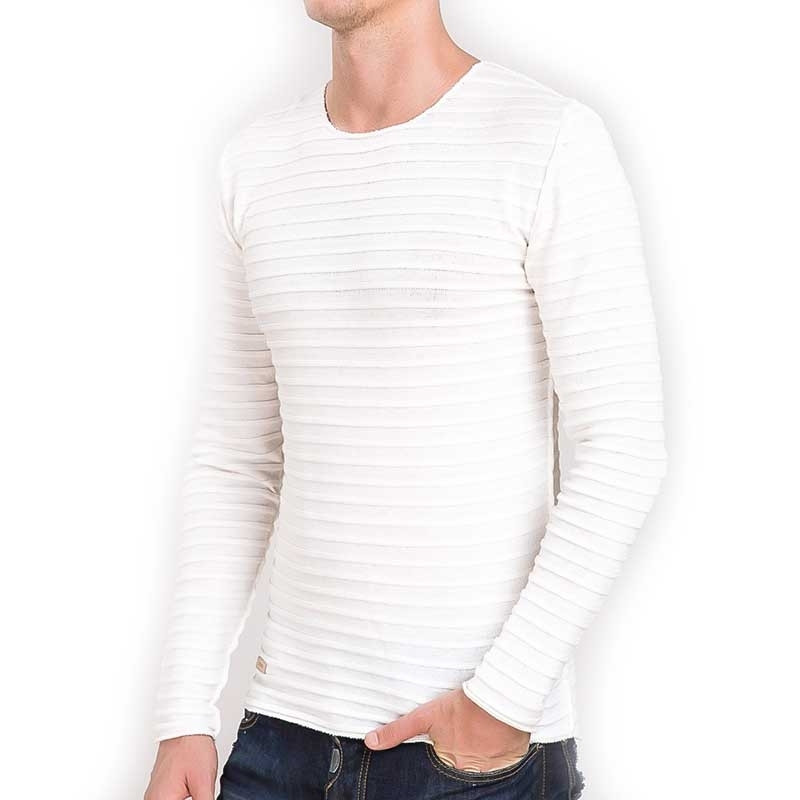 RED BRIDGE SWEATSHIRT regular HORIZONT WAVE Rippen M3026 Mainstream cream