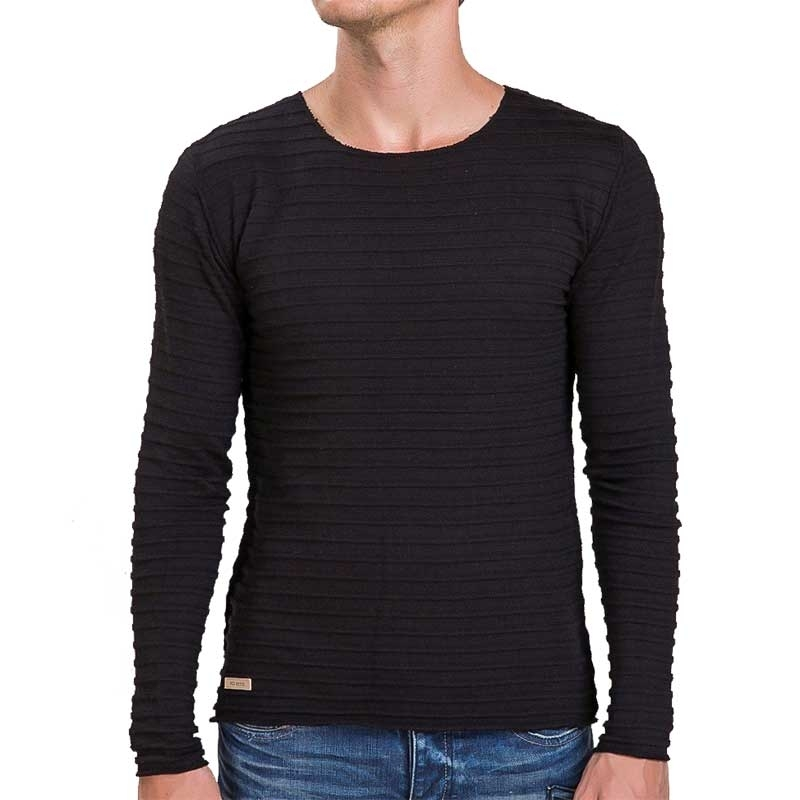 RED BRIDGE SWEATSHIRT regular HORIZONT WAVE Rippen M3026 Mainstream black