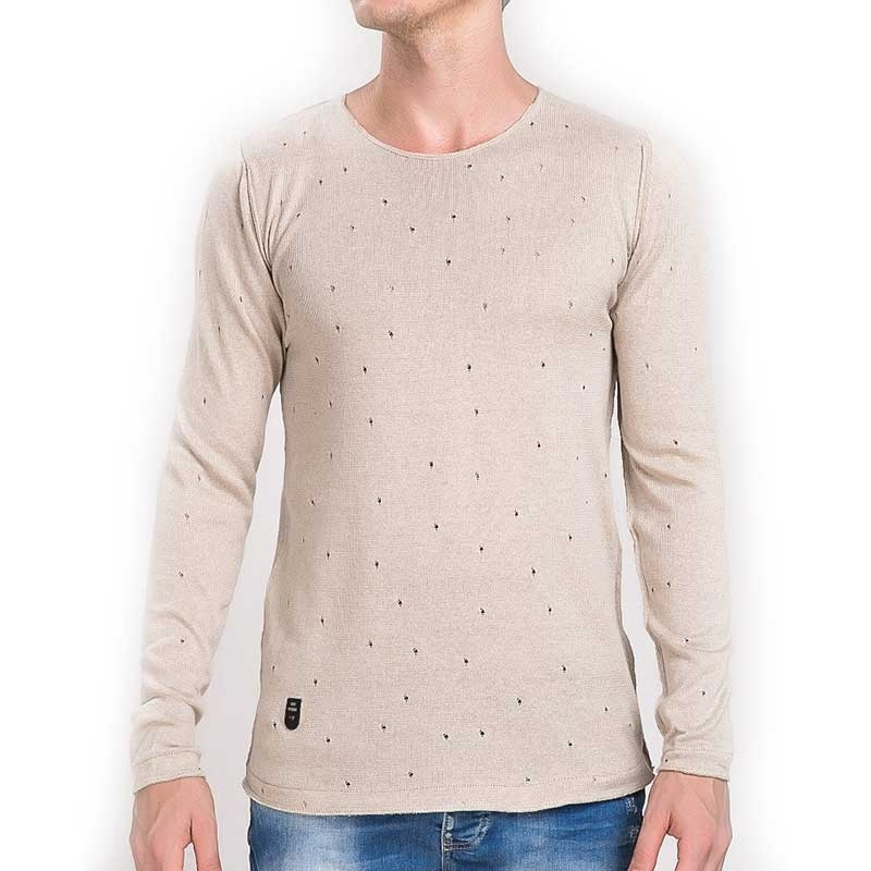 RED BRIDGE SWEATSHIRT regular VINTAGE STERN Gelocht M3025 Urban Wear beige