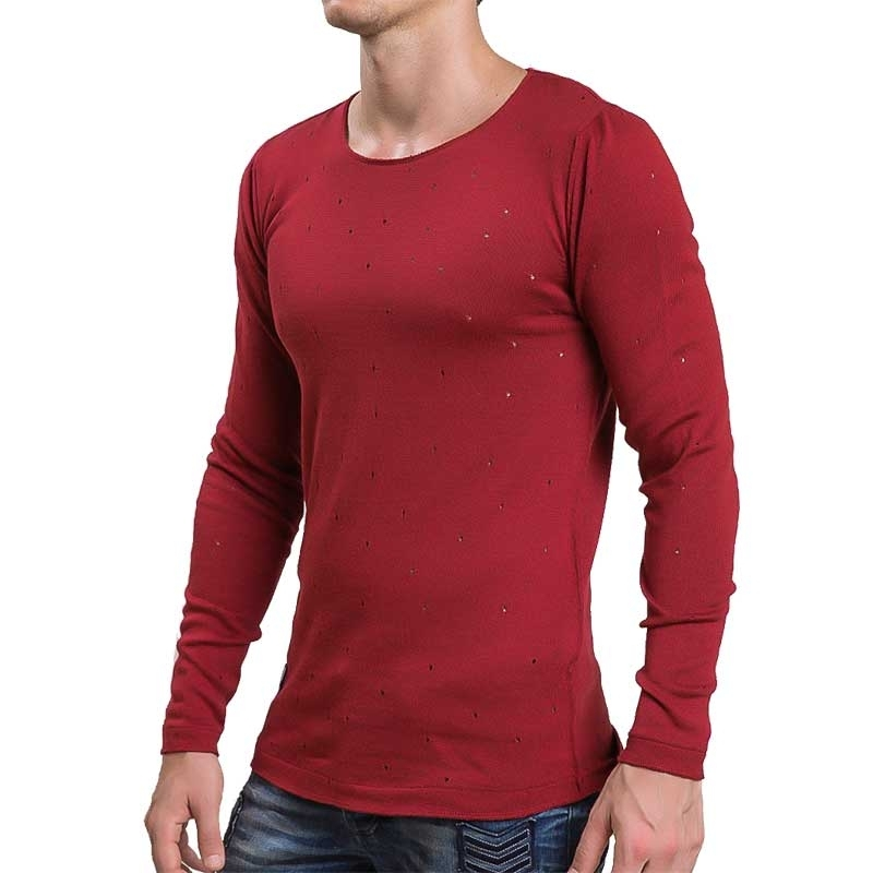 RED BRIDGE SWEATSHIRT regular VINTAGE STERN Gelocht M3025 Urban Wear bordeaux
