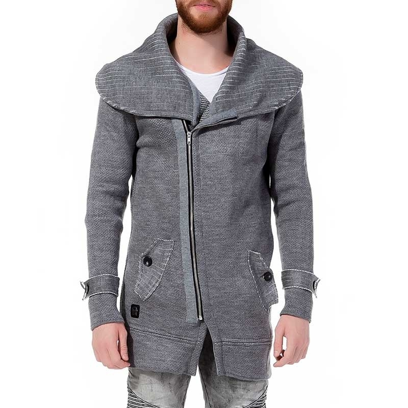 RED BRIDGE STRICKJACKE modern LANG ZIPP Comfort Kragen M3608 mainstream grey