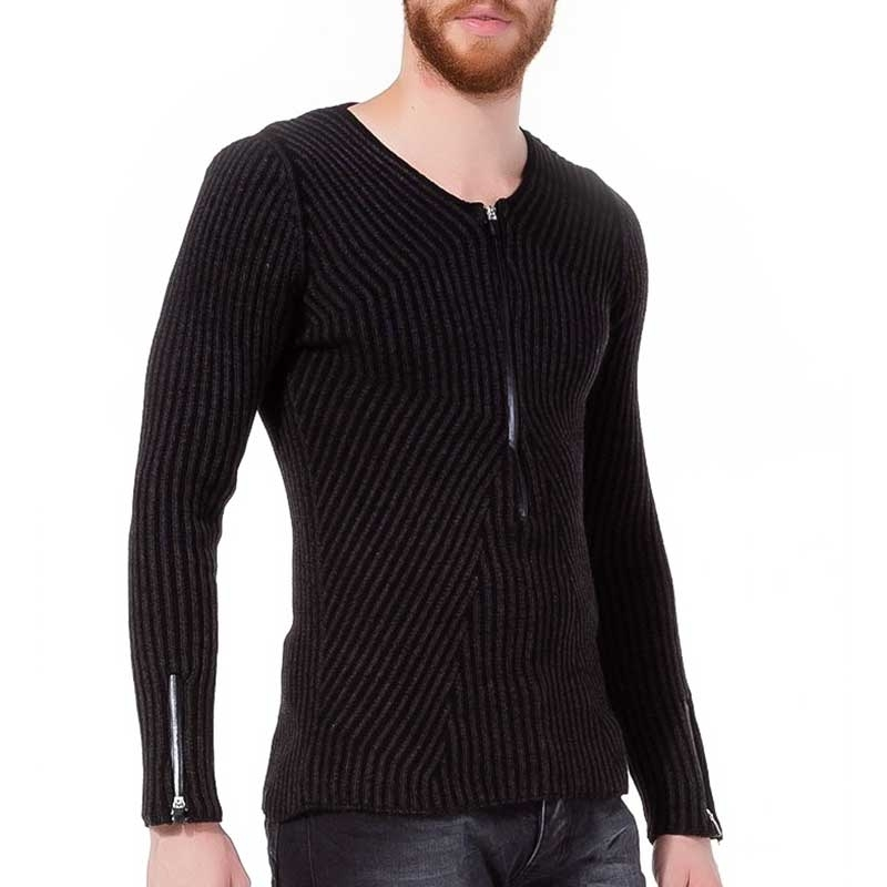 RED BRIDGE SWEATSHIRT modern RIPPEN ZIPP Abend Style M3011 Comfort Wear black
