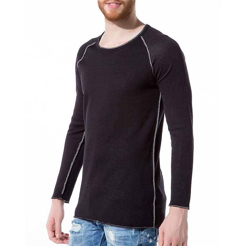 RED BRIDGE SWEATSHIRT regular BASIC ZIERNAHT Alltag M3010 Home Wear black
