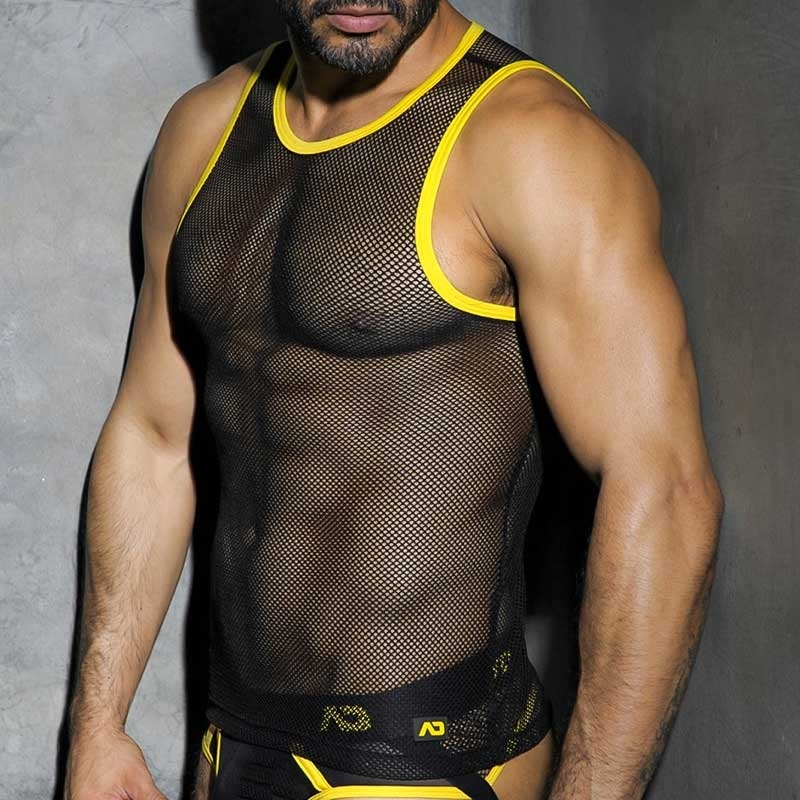 AD-FETISH TANK TOP hot FETISH MESH Piss ADF01 Club Wear black-yellow