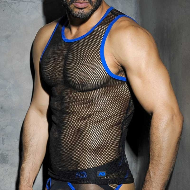 AD-FETISH TANK TOP hot FETISH MESH Fuck ADF01 Club Wear black-blue