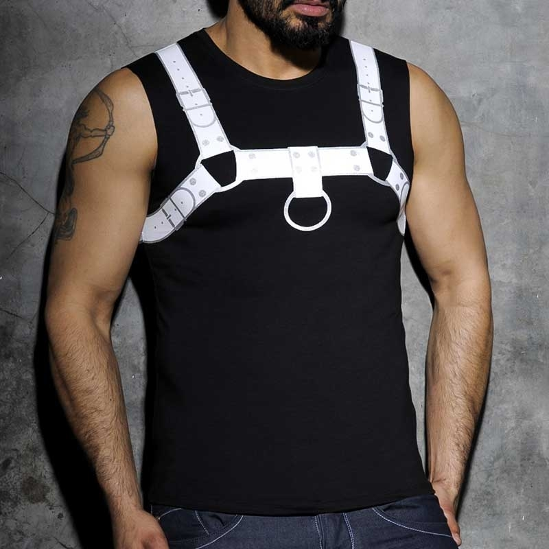 ADDICTED TANK TOP hot PRINT HARNESS Fetisch AD-524 Club Wear black-white