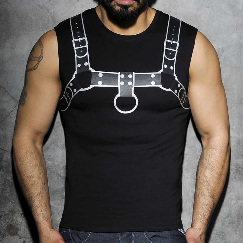 ADDICTED TANK TOP hot PRINT HARNESS Fetisch AD-524 Club Wear silver