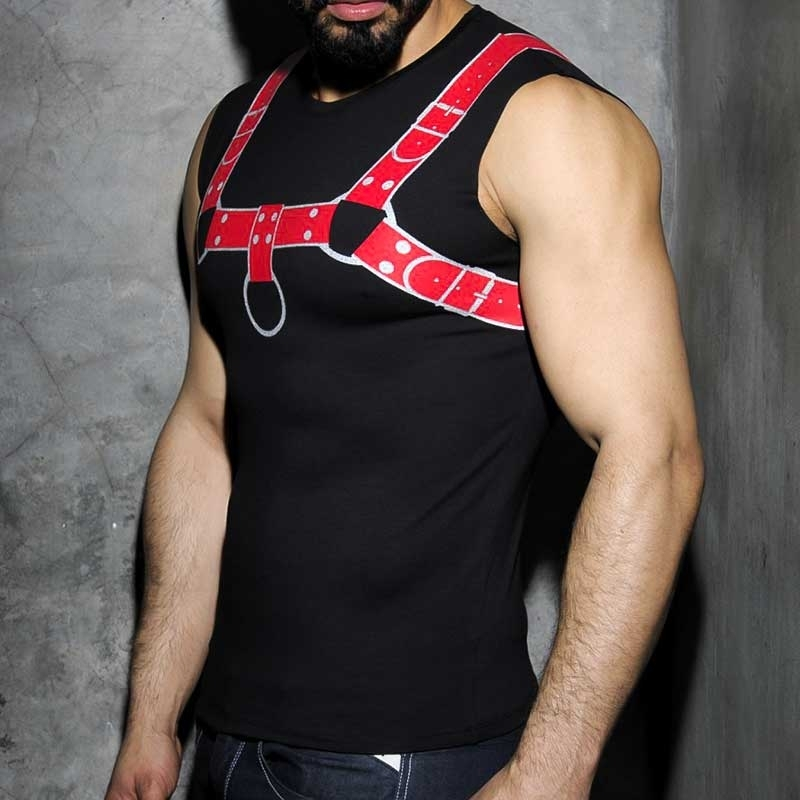 ADDICTED TANK TOP hot PRINT HARNESS Faust Fetisch AD-524 Club Wear red