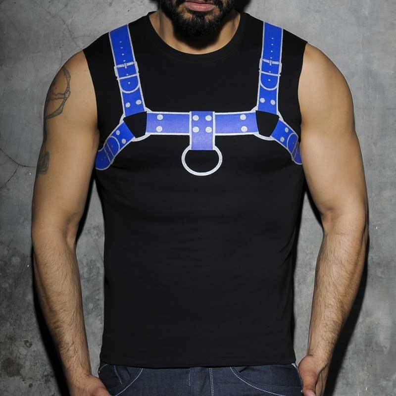 ADDICTED TANK TOP hot PRINT HARNESS Fuck Fetisch AD-524 Club Wear blue