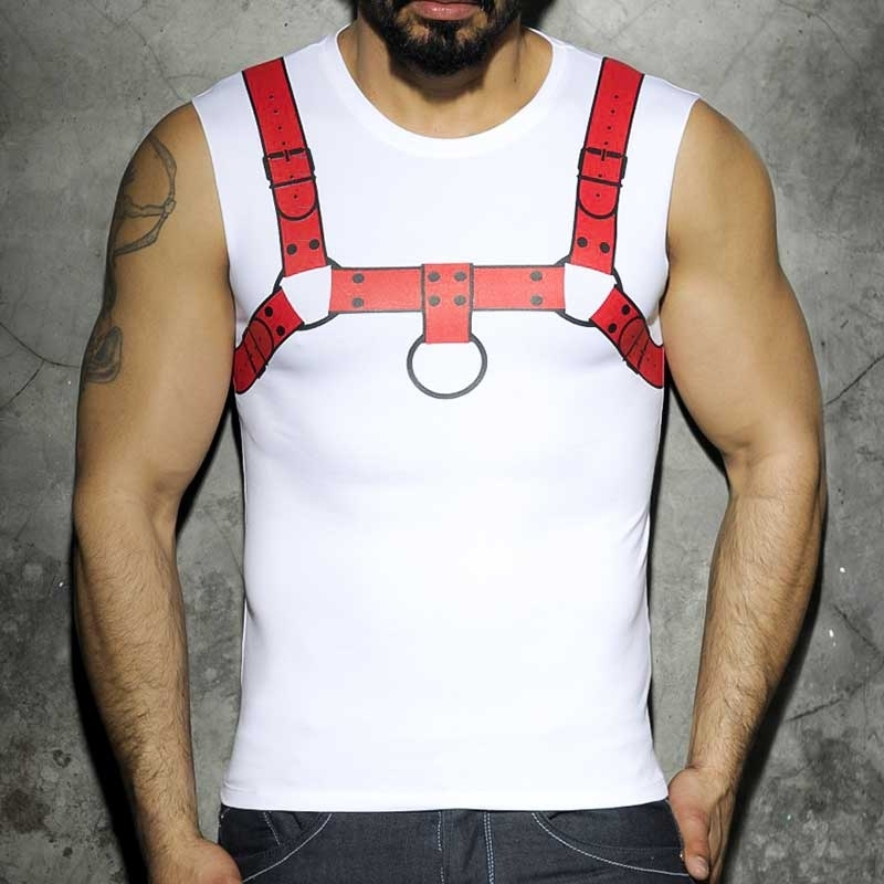 ADDICTED TANK TOP hot FETISCH HARNESS Faust Print AD-523 Club Wear red