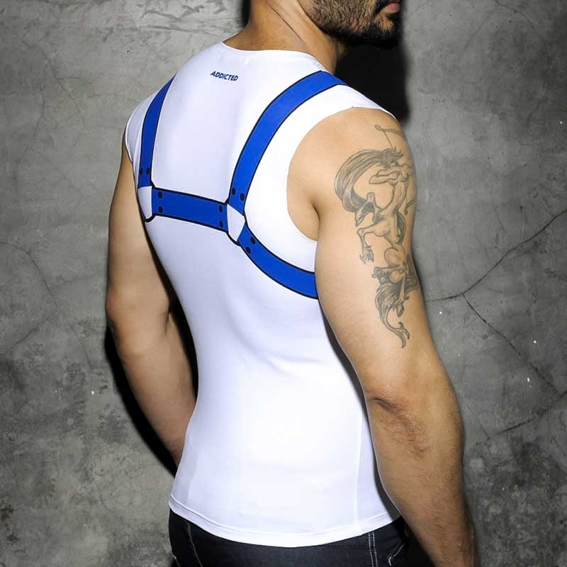 ADDICTED TANK TOP hot FETISCH HARNESS Fuck Print AD-523 Club Wear blue