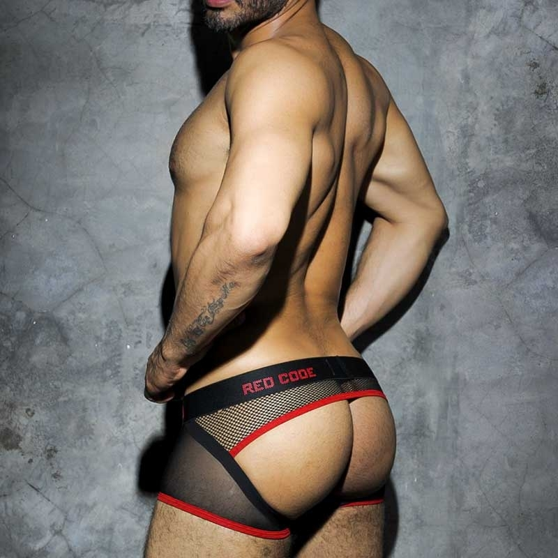 AD-FETISH backless BOXER ADF10 hybrid mesh in red