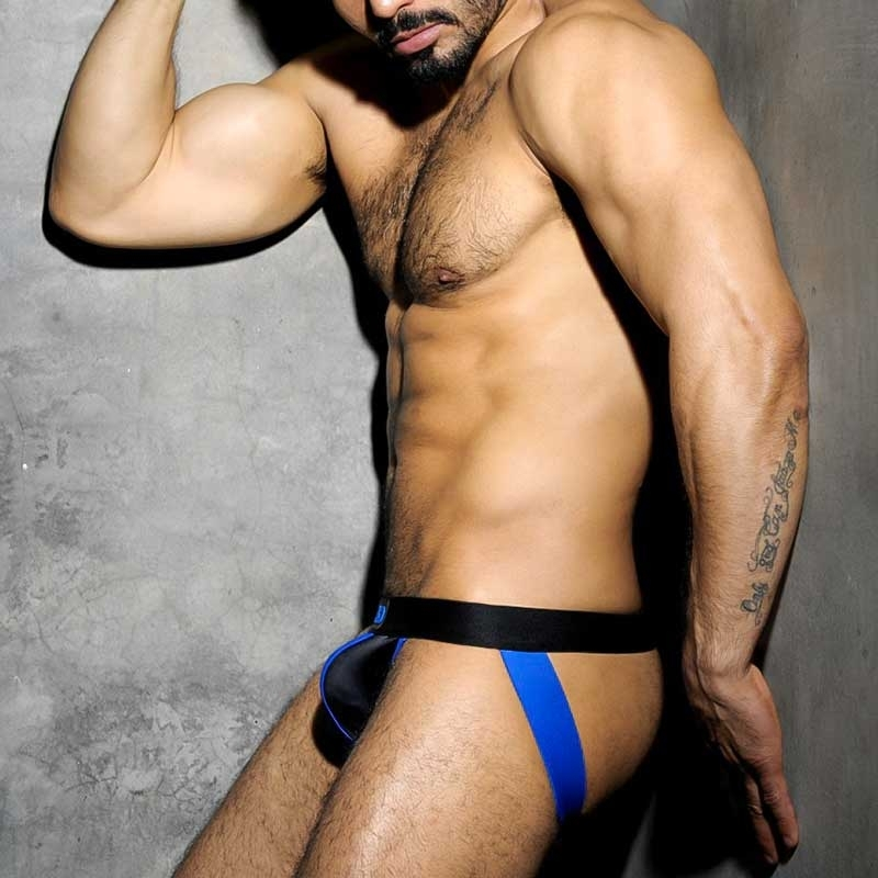 AD-FETISH JOCKstrap hot Play FETISH STRIP TRON Sport ADF13 Club Wear blue-black