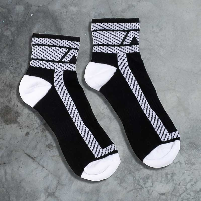 ADDICTED SNEAKER SOCKEN athletic HANKY CODE Joggen ADF27 Fetisch Sports Wear black-white