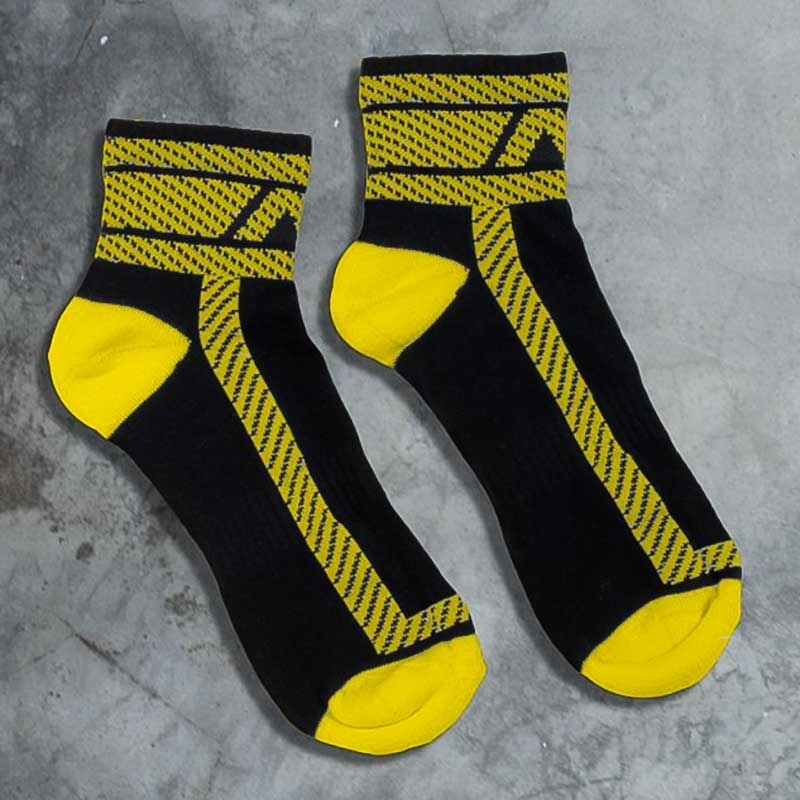 ADDICTED SNEAKER SOCKEN athletic NS HANKY CODE Joggen ADF27 Fetisch Sports Wear black-yellow