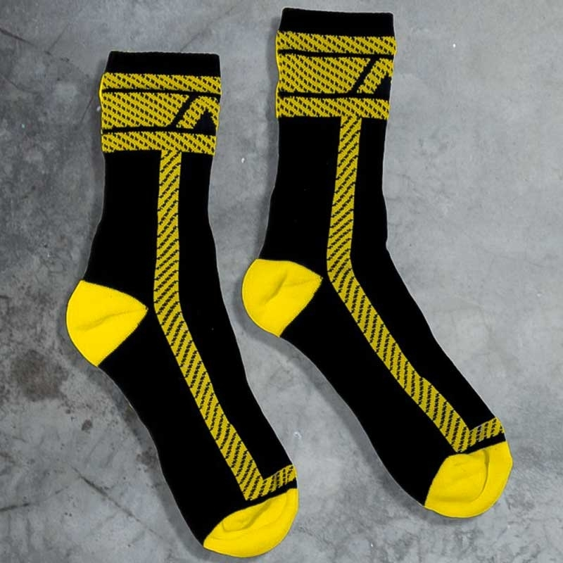 ADDICTED STRUMPF comfort NS AKTIV HANKY CODE Athletic ADF28 Fetisch Wear black-yellow