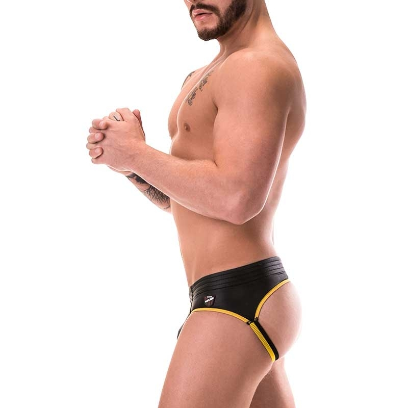 BARCODE Berlin BRIEF club BUM backless 91156 wetlook black yellowstyle