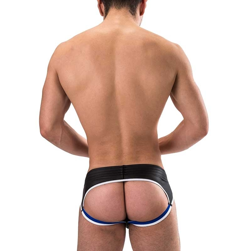BARCODE Berlin BRIEF club BUM backless 91156 wetlook black bluestyle