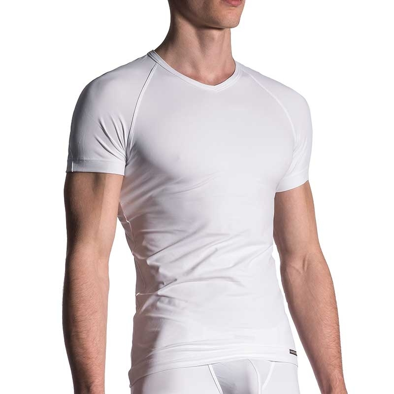 MANSTORE T-SHIRT regular SPORT V-NECK Basic M200 Street Wear white