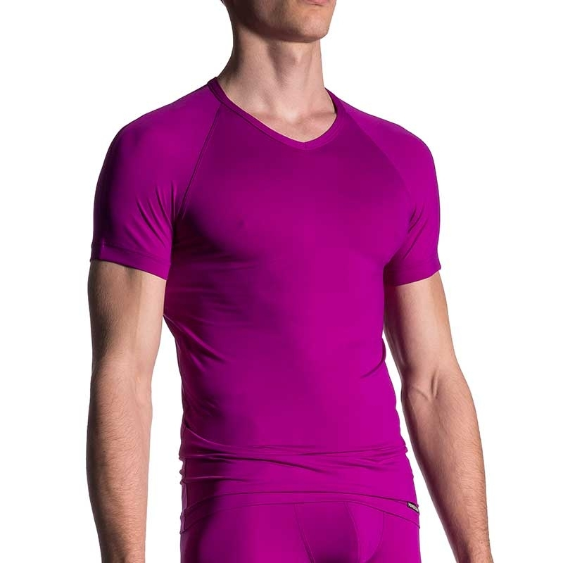 MANSTORE T-SHIRT regular SPORT V-NECK Basic M200 Street Wear purple