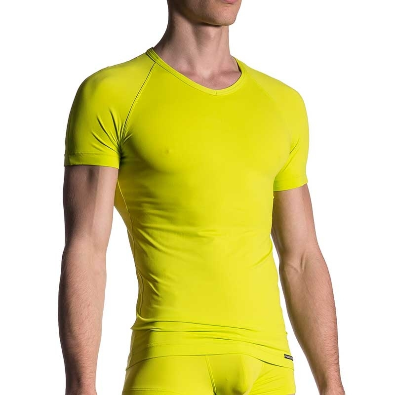 MANSTORE T-SHIRT regular SPORT V-NECK Basic M200 Street Wear neon-yellow