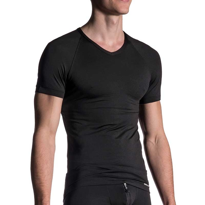 MANSTORE T-SHIRT regular SPORT V-NECK Basic M200 Street Wear black